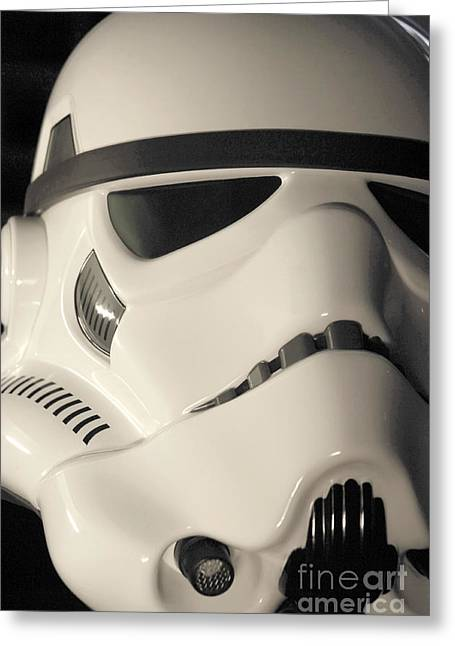 Science Fiction Greeting Cards - Stormtrooper Helmet 100 Greeting Card by Micah May