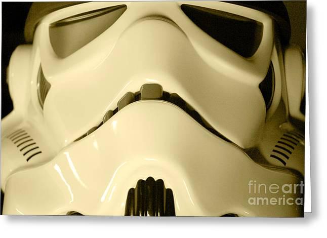 Movie Prop Greeting Cards - Stormtrooper Helmet 104 Greeting Card by Micah May