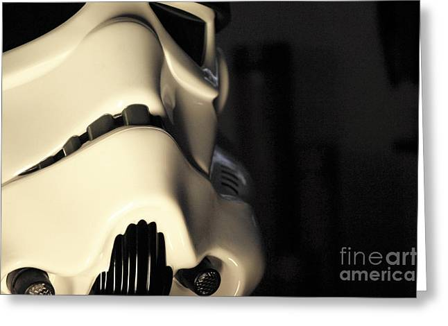 Science Fiction Greeting Cards - Stormtrooper Helmet 115 Greeting Card by Micah May