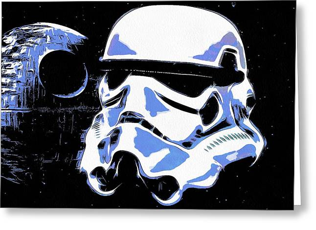 Galactic Empire Greeting Cards - Stormtrooper Helmet And Death Star Greeting Card by Dan Sproul