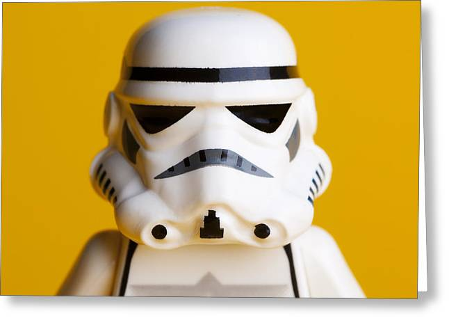 Lego Greeting Cards - Stormtrooper Portrait Greeting Card by Samuel Whitton
