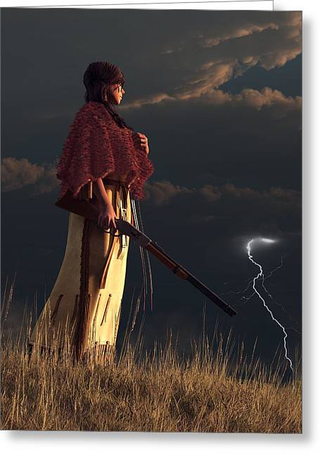 Spirit Guides Greeting Cards - Stormwatcher Greeting Card by Daniel Eskridge