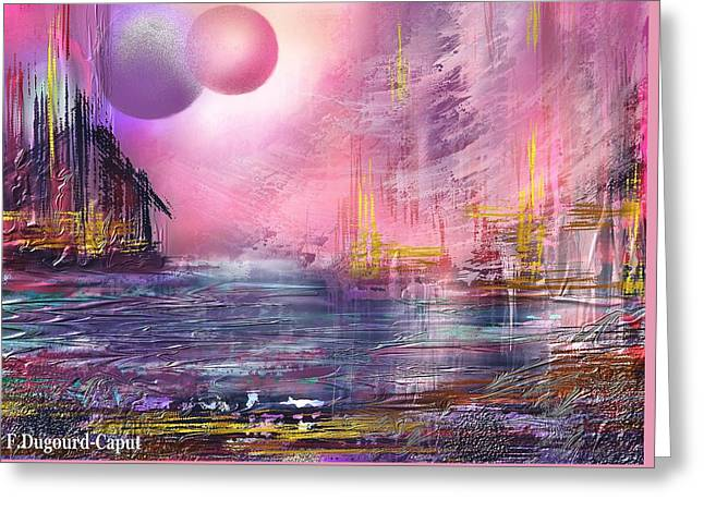 Abstract Digital Paintings Greeting Cards - Stormway Greeting Card by Francoise Dugourd-Caput