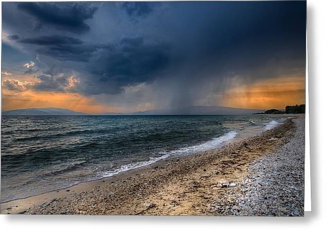 Perfect Storm Greeting Cards - Stormy beach Greeting Card by Dobromir Dobrinov