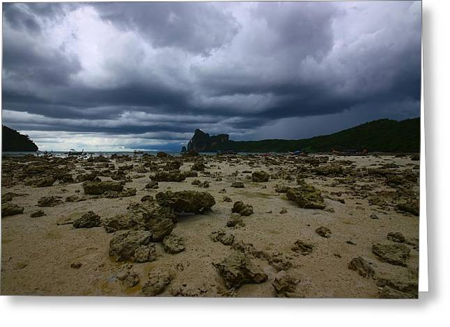 Grey Clouds Greeting Cards - Stormy Beach Greeting Card by FireFlux Studios