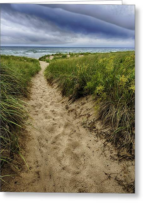Foot Greeting Cards - Stormy Beach Greeting Card by Sebastian Musial