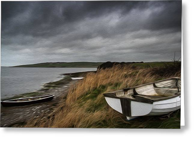 Stormy Weather Greeting Cards - Stormy boat lake landscape digital painting Greeting Card by Matthew Gibson
