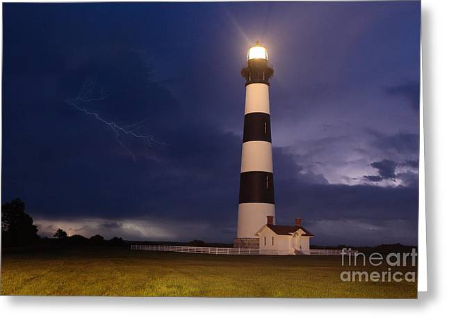 Storm Prints Photographs Greeting Cards - Stormy Bodie Lighthouse Outer Banks I Greeting Card by Dan Carmichael