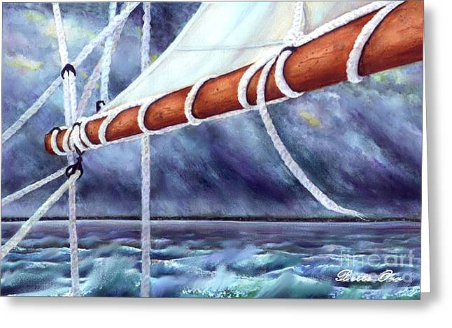 Sailboat Ocean Greeting Cards - Stormy Boom Greeting Card by Bette Orr