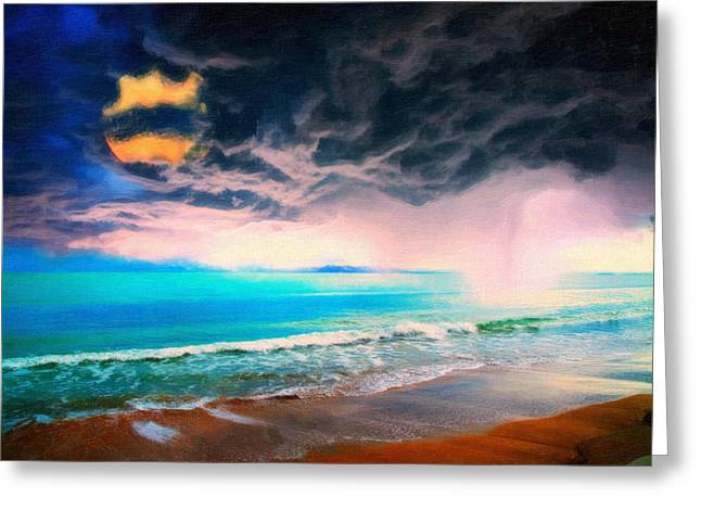 Difficulties Love Greeting Cards - Stormy Castaway Art Greeting Card by MotionAge Designs