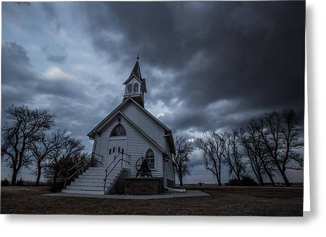 Thunderstorm Greeting Cards - Stormy Church Greeting Card by Aaron J Groen