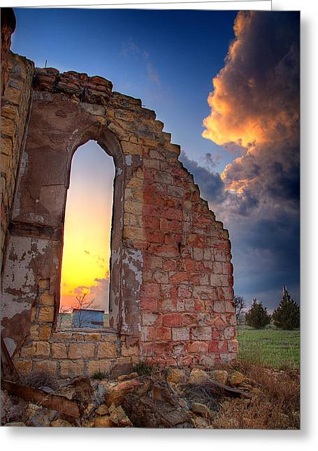 Thunderhead Greeting Cards - Stormy Church Greeting Card by Thomas Zimmerman