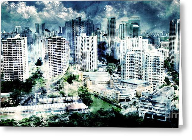 Storm Prints Digital Art Greeting Cards - Stormy City Greeting Card by Phill Petrovic