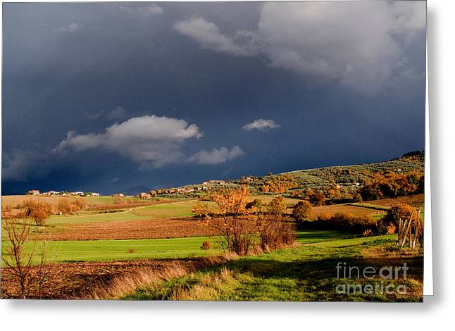 Grey Clouds Greeting Cards - Stormy Countryside Greeting Card by Tim Holt