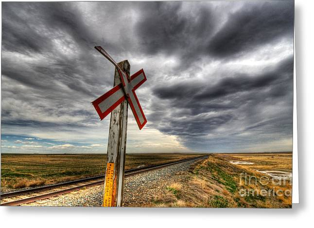 Train Crossing Greeting Cards - Stormy Crossing Greeting Card by Bob Christopher