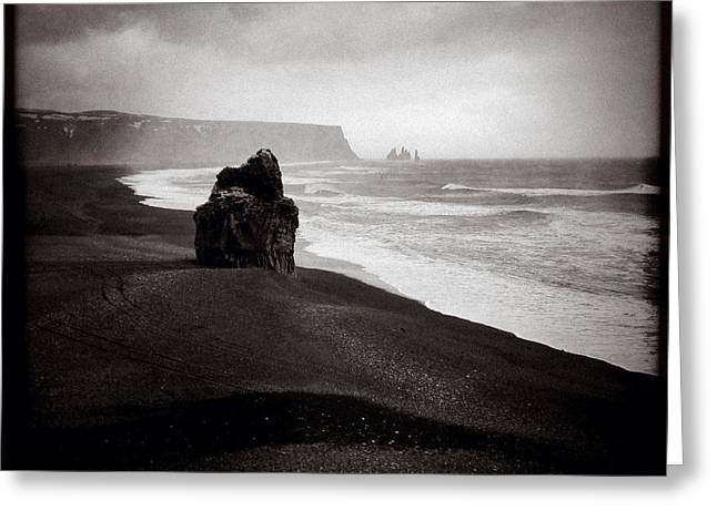Icelandic Greeting Cards - Stormy Day at Dyrholaey Greeting Card by Dave Bowman