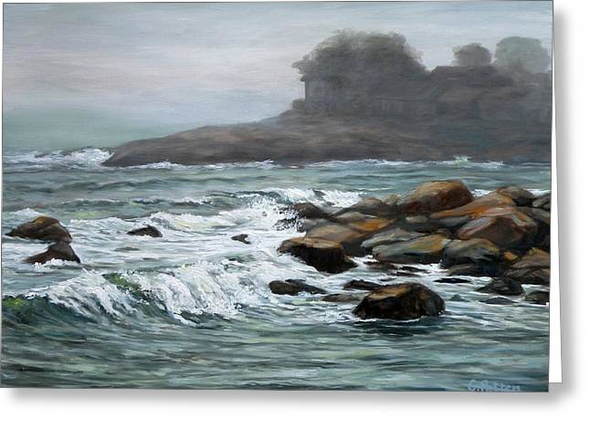 Foggy Beach Paintings Greeting Cards - Stormy Day At Old Garden Beach Greeting Card by Eileen Patten Oliver