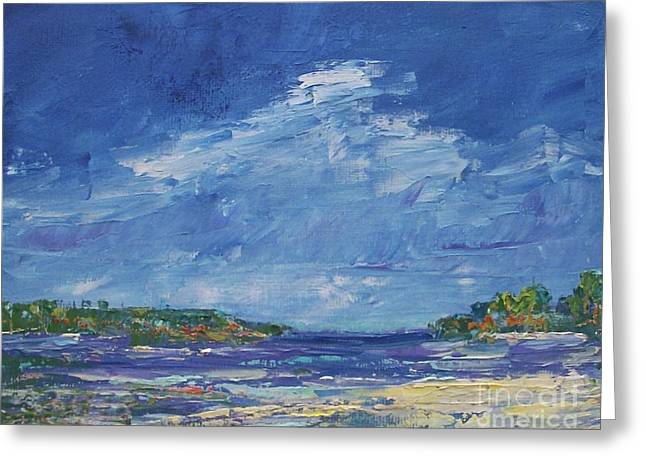 Titanium White Greeting Cards - Stormy Day at Picnic Island Greeting Card by Gail Kent