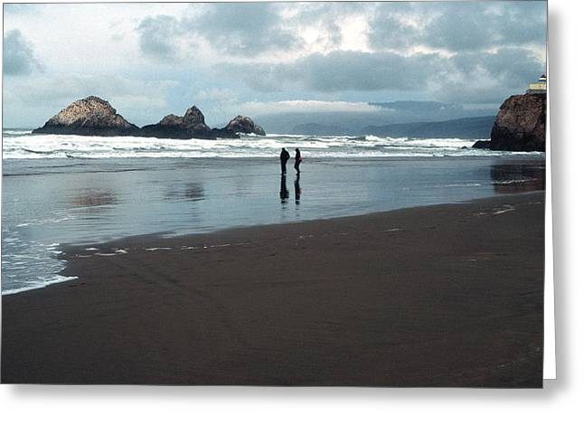 Seascape Prints Greeting Cards - Stormy Day at Seal Rocks Beach Greeting Card by Kathy Yates