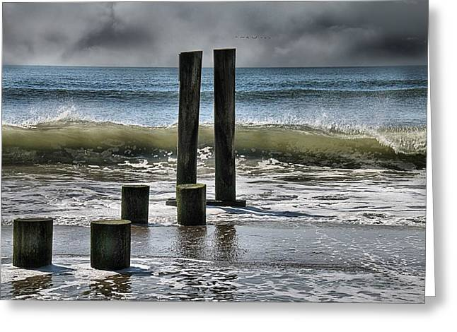 Stein Greeting Cards - Stormy day at the beach Longport NJ Greeting Card by Valerie Stein