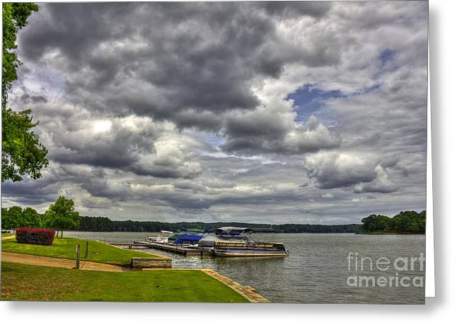 Crappies Greeting Cards - Stormy Day Dockside Lake Oconee Greeting Card by Reid Callaway