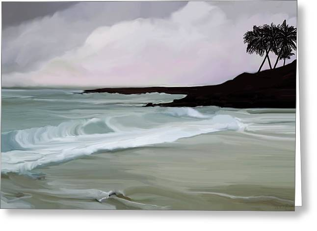 Surf Silhouette Digital Art Greeting Cards - Stormy Day in Laguna Greeting Card by Melissa Eglington
