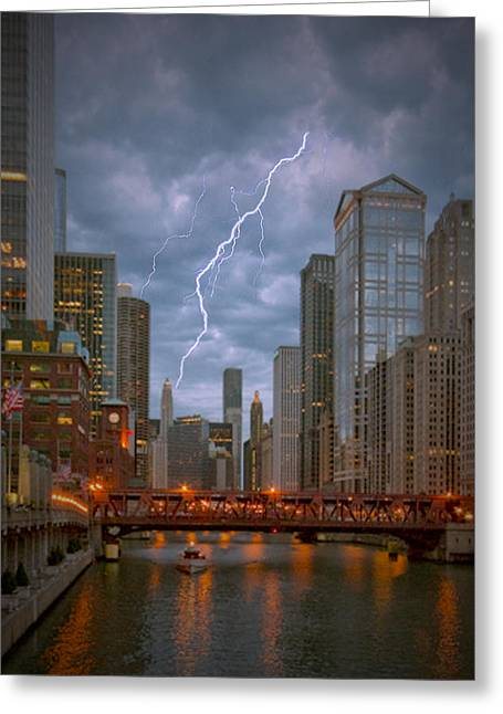 Ed Roth Greeting Cards - Stormy Dusk on the Chicago River Greeting Card by Ed Roth