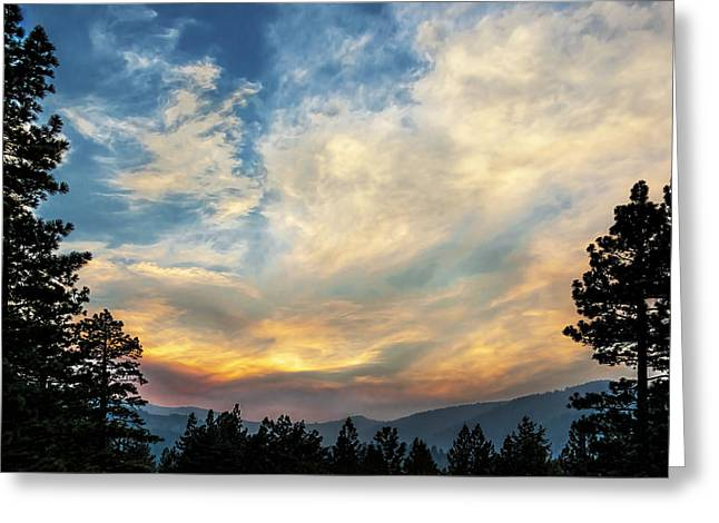 Turbulent Skies Greeting Cards - Stormy Evening Greeting Card by Maria Coulson