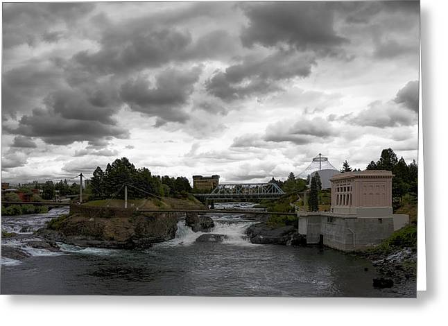 """spokane Falls"" Greeting Cards - STORMY FALLS of SPOKANE Greeting Card by Daniel Hagerman"