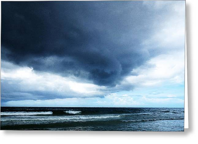 Oceanscape Greeting Cards - Stormy - Gray Storm Clouds by Sharon Cummings Greeting Card by Sharon Cummings