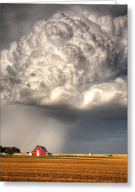 Nimbus Greeting Cards - Stormy Homestead Barn Greeting Card by Thomas Zimmerman