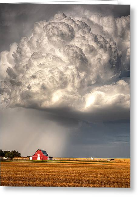 Stormy Clouds Greeting Cards - Stormy Homestead Barn Greeting Card by Thomas Zimmerman