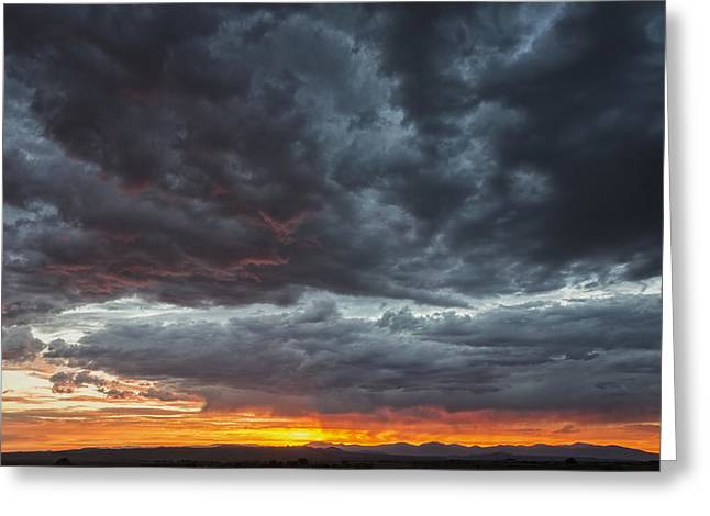 Jemez Mountains Greeting Cards - Stormy Jemez Mountains Sunset - Santa Fe New Mexico Greeting Card by Brian Harig