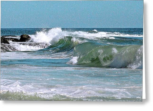 Stormy Lagune - Blue Seascape Greeting Card by Ben and Raisa Gertsberg