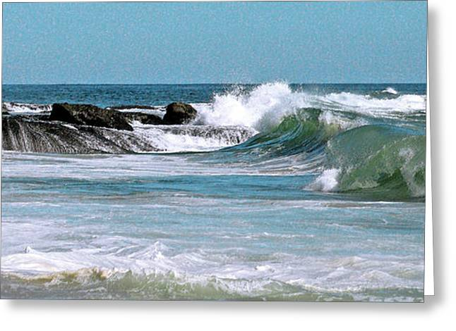 Turbulent Skies Greeting Cards - Stormy Lagune - Blue Seascape Greeting Card by Ben and Raisa Gertsberg