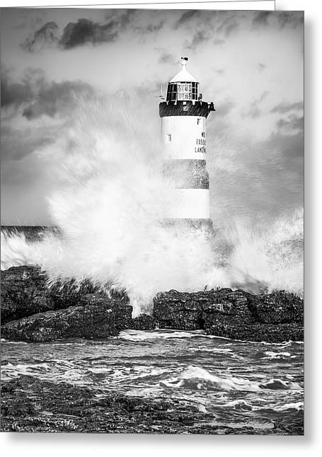 Wave Up Close Greeting Cards - Stormy Lighthouse Black and White Greeting Card by Christine Smart