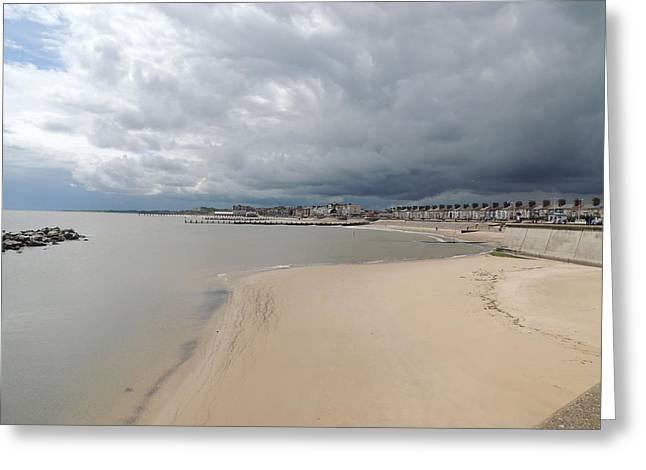 Stormy Weather Pyrography Greeting Cards - Stormy Lowestoft Greeting Card by Caroline Denman