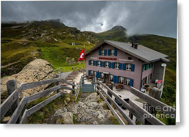 Swiss Flag Greeting Cards - Stormy Mannlichen - Bernese Alps - Switzerland Greeting Card by Gary Whitton