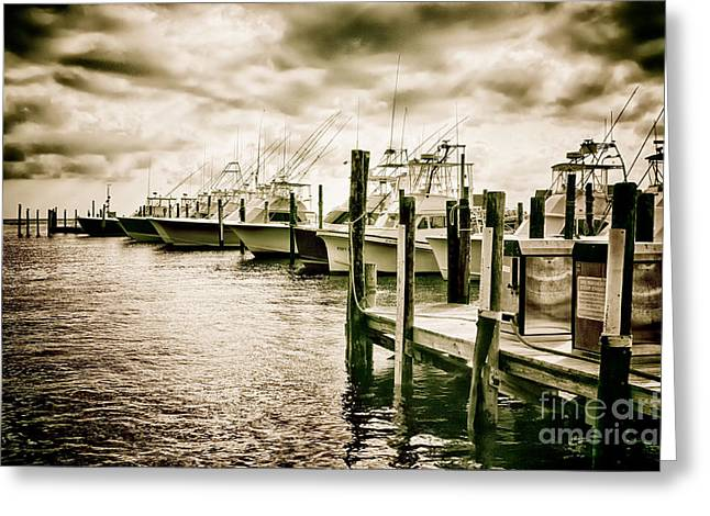 Storm Prints Photographs Greeting Cards - Stormy Marina on the Outer Banks Greeting Card by Dan Carmichael