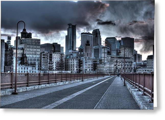 Downtown Franklin Greeting Cards - Stormy Minneapolis Greeting Card by Amanda Stadther