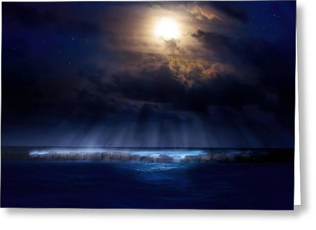 Stormy Moonrise Greeting Card by Mark Andrew Thomas