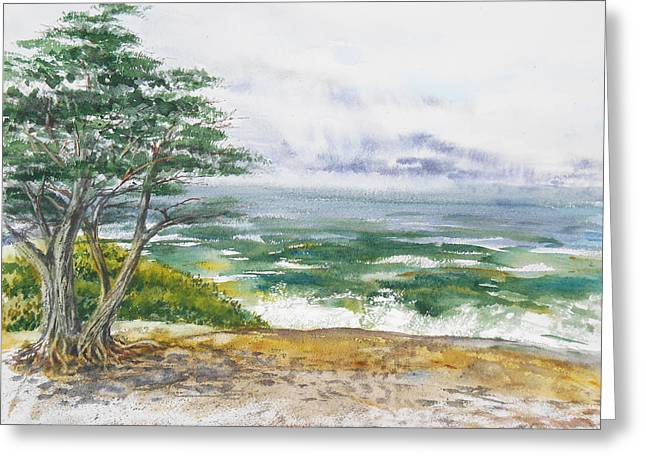 Touristic Greeting Cards - Stormy Morning At Carmel By The Sea California Greeting Card by Irina Sztukowski