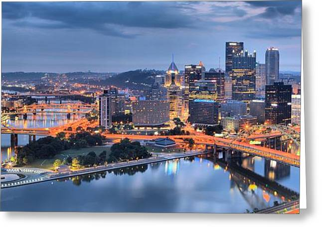 City Of Champions Greeting Cards - Stormy Morning Skies Over Pittsburgh Greeting Card by Adam Jewell