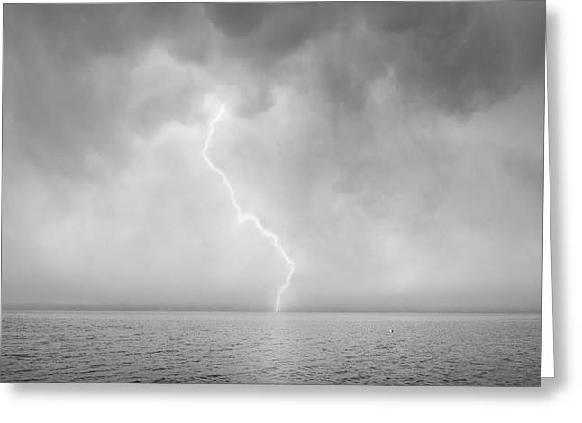 Lightning Bolt Pictures Digital Art Greeting Cards - Stormy Night  Greeting Card by David Gordon