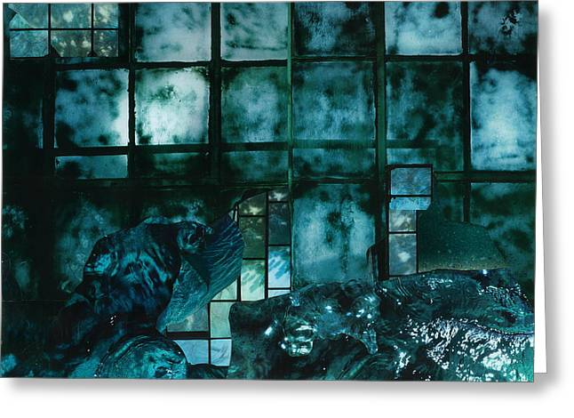 Bluish Green Greeting Cards - Stormy Night Greeting Card by Denise Mazzocco