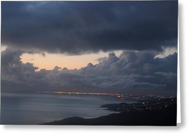 Pacfic Ocean Greeting Cards - Stormy Night  Greeting Card by Kristy  Morris