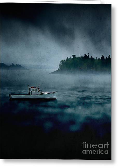 Fishermans Island Greeting Cards - Stormy Night off the Coast of Maine Greeting Card by Edward Fielding