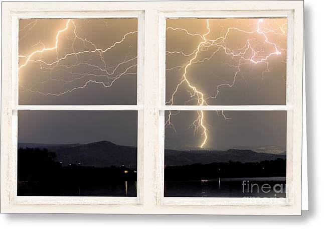 Landscape Framed Prints Greeting Cards - Stormy Night Window View Greeting Card by James BO  Insogna