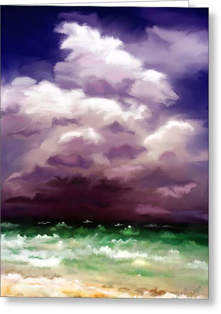 Storm Prints Digital Art Greeting Cards - Stormy Ocean Abstract Painting Greeting Card by Michelle Wrighton