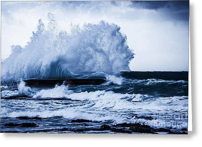 Atlantic Beaches Greeting Cards - Stormy ocean waves  Greeting Card by Anna Omelchenko